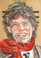 Gestural Portrait of Mick Jagger (Acrylic on Appliance Box Cardboard)