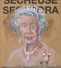 Gestural Portrait of Queen Elizabeth II (Acrylic on Appliance Box Cardboard)