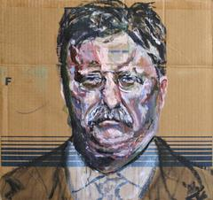 Gestural Portrait of Theodore Roosevelt (Acrylic on Appliance Cardboard)