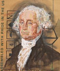 Gestural Portrait of George Washington (Acrylic on Appliance Box Cardboard)