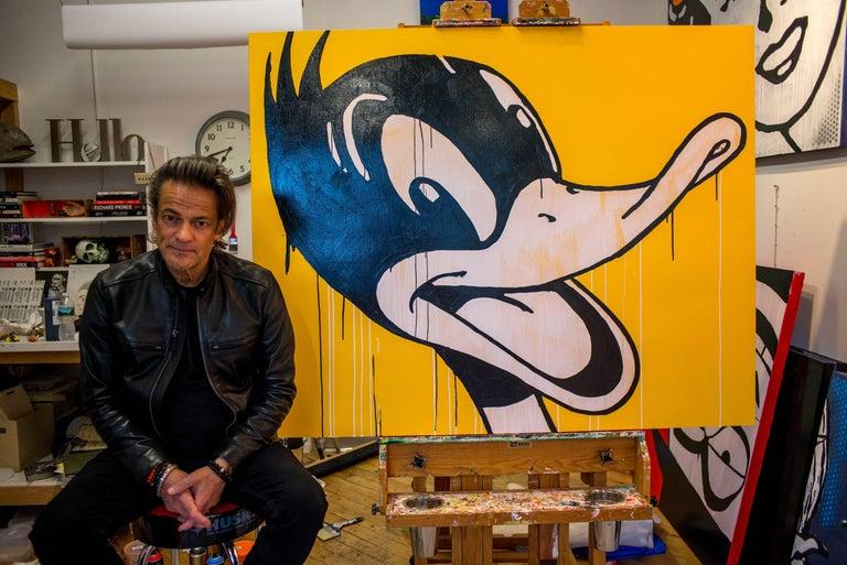 Pop Art Portrait of Daffy Duck [Duck Season, 2017] - Orange Portrait Painting by John Gonnella
