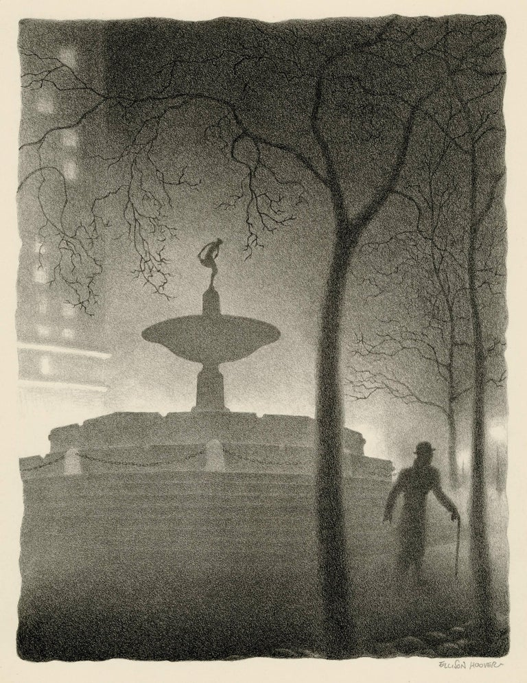 Ellison Hoover Print - Pulitzer Fountain, Evening