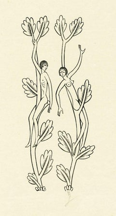 Naked Young Man Sitting On Lopped Branch; Naked Young Woman Sitting on a Branch.