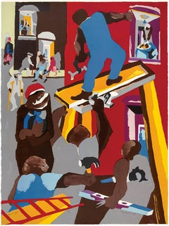 Jacob Lawrence - Builders - Man on Scaffold