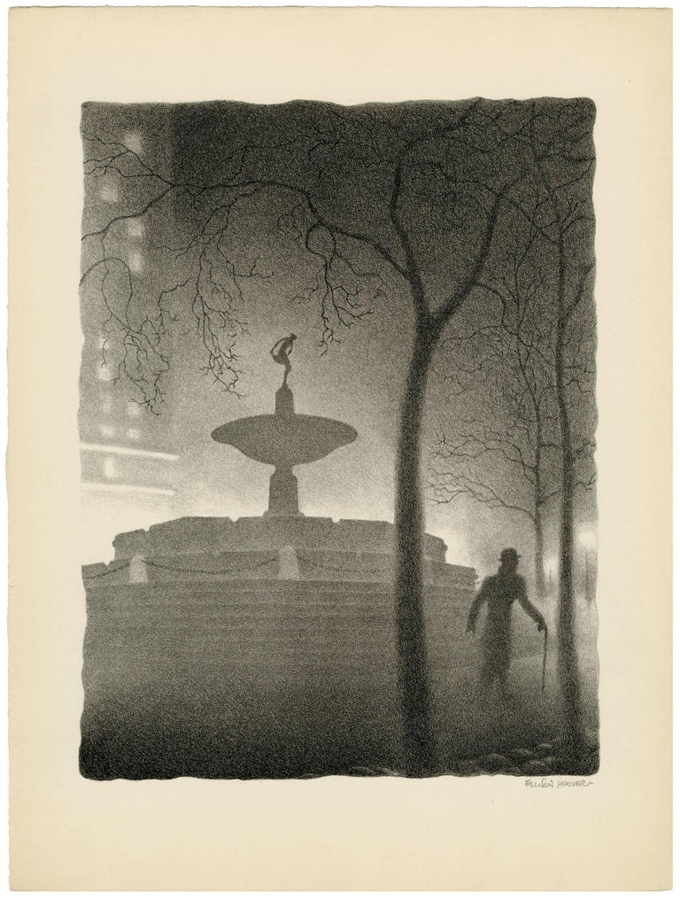 Pulitzer Fountain, Evening - American Modern Print by Ellison Hoover