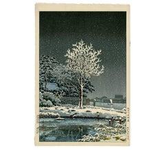 Snow on Sumida River (Suijinnomori Grove in Snow)