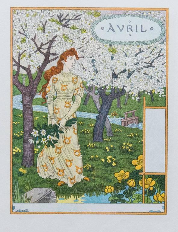 Art Calendar La : Eugene grasset calendar la belle jardiniere print for