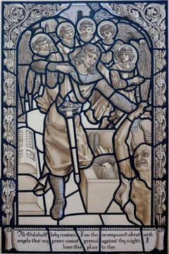 Galahad and the Angels. Design for a Stained Glass Window.