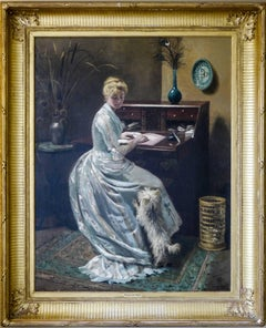 'An Interruption', An elegant lady with her Highland Terrier