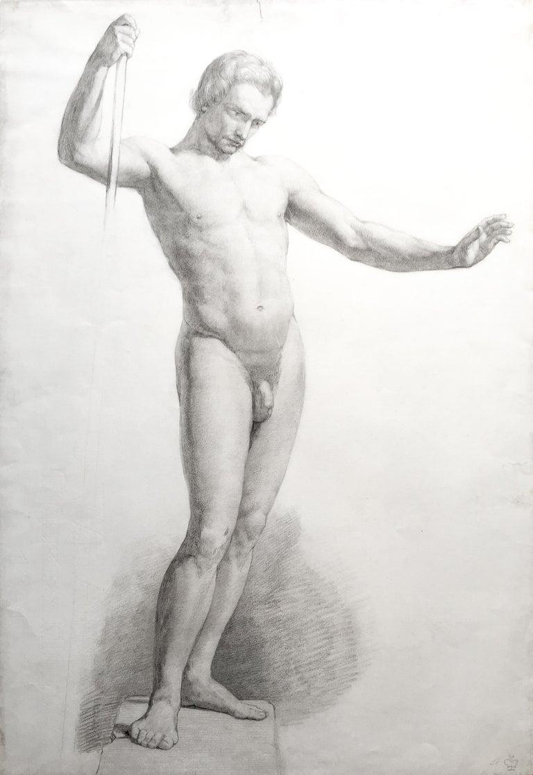 Standing Male Nude Study - Art by John Everett Millais