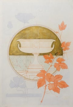Design for a bookplate with vine stem, poppy and urn