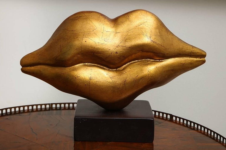 "Contemporary  Sculpture "" Golden Lips"" by Nana de La Fuente"
