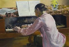 Jeune fille au piano  cm. 65 x 46, oil, signed low on the left, no year written