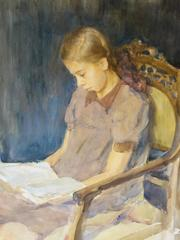 Reading - watercolor, cm. 26 x 35, 1950