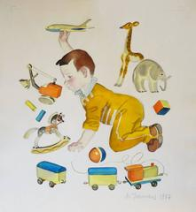 My toys - watercolor, cm. 30 x 29, 1957
