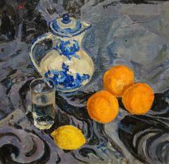 Still life with lemon and oranges - oil, cm. 50 x 47, 1990