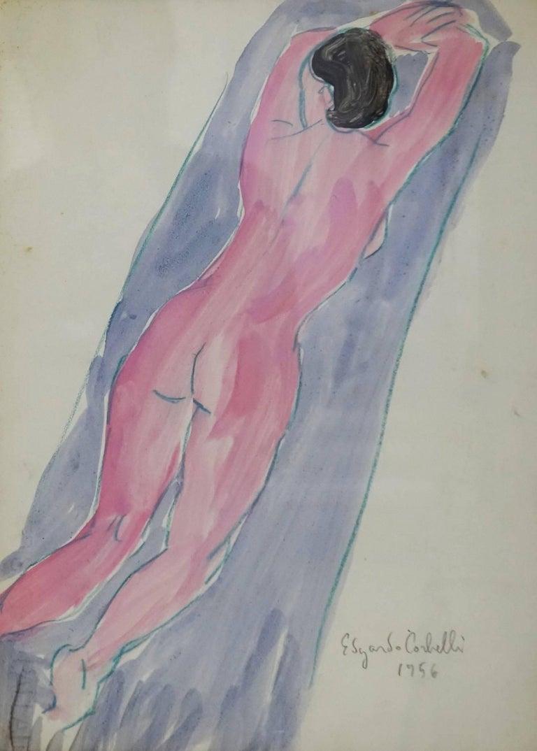 "Edgardo Corbelli Figurative Art -  ""Pink back nude ""watercolor  cm. 24 x 33   1956 Free shipping"