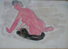"""Pink sitting nude""   watercolor  cm. 33 x 24  1956"