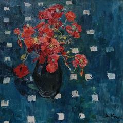 """""""Poppies"""" Oil  cm. 58 x 58 1970"""
