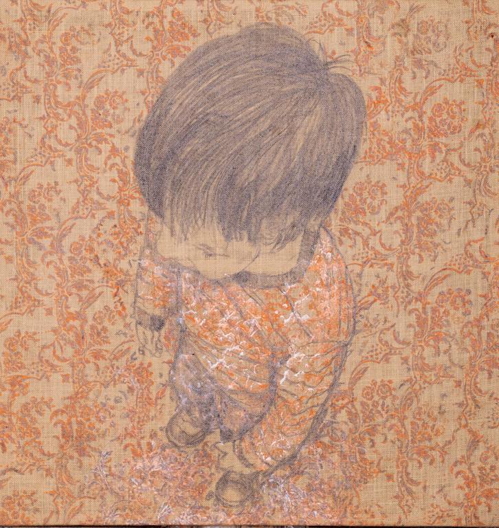 """Andrea Pescio Figurative Painting - """"studio 1- Orange""""  graphite ,roller painting on jute cm 94x90   2011"""