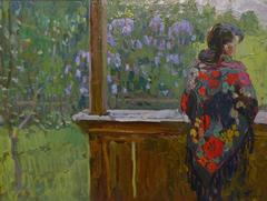 """On the veranda""  Sergej Tkachev  On the veranda, 1987, oil, cm. 47,5 x 36"