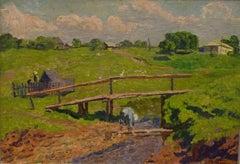 """Near the village "" Oil cm. 50 x 35 1975"