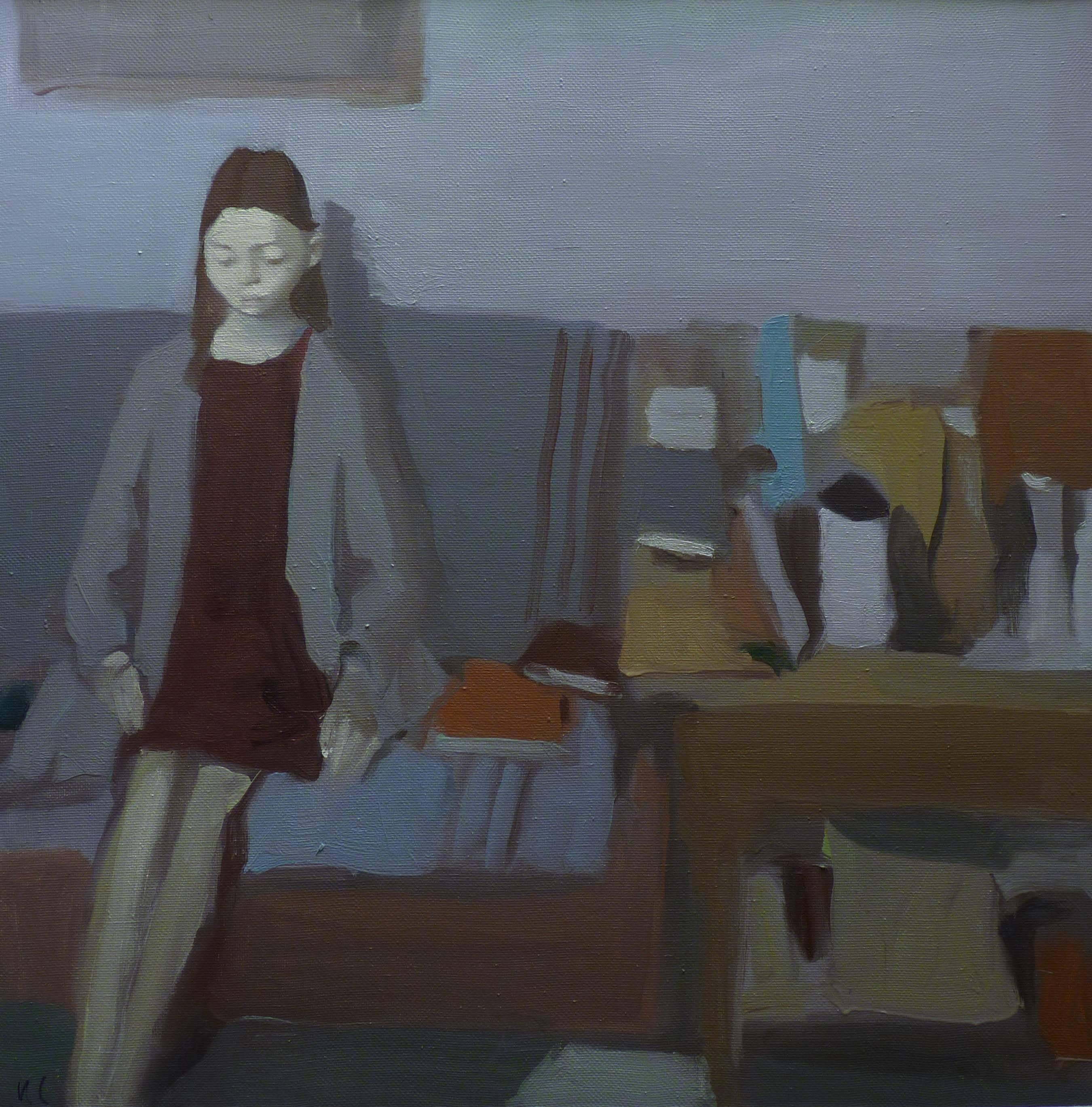 """""""Interior with girl and still life"""" Grey, Blue Oil cm. 90 x 90 2019"""