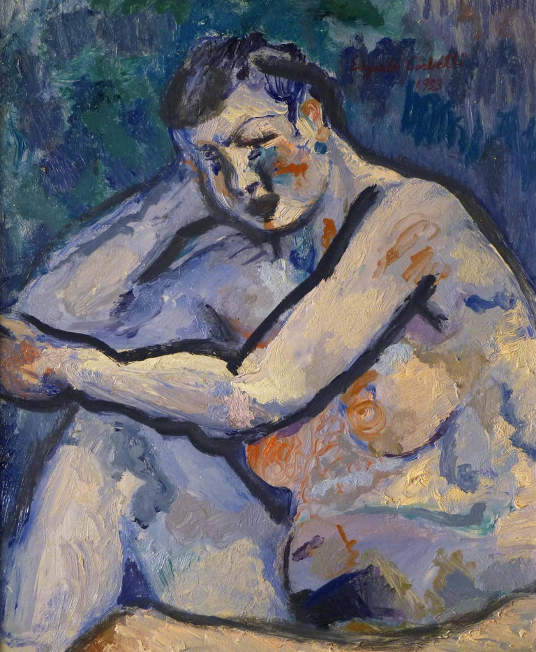 "Edgardo Corbelli Figurative Painting - ""Blue nude"" Oil cm. 50 x 60 1953"