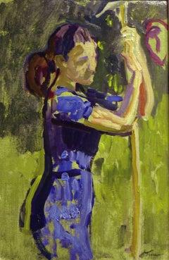 """""""Blue girl   """" Oil cm. 22 x 34  1970"""