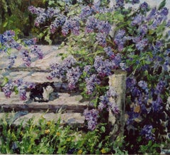 """""""Little cat between flowers of lilac"""" Oil cm. 100 x 89 2007"""
