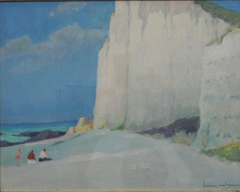 Henri Maurice CAHOURS Landscape Painting - Les falaises (Entretat)   Gouache    cm. 41 x 32  1930