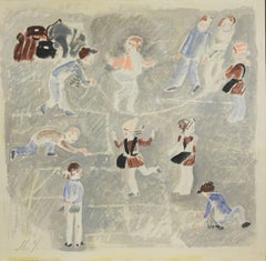 Games in the yard  Pastel  cm. 24 x 25  1970 ca