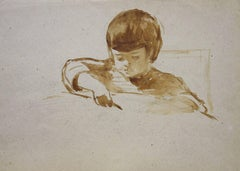 "Little girl drawing     inc ""seppia""  cm. 33,5 x 28,5  1960"