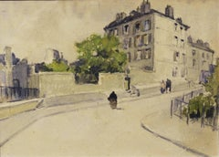 """Rue St. Eleuthere (Paris) "" watercolor cm. 18 x 13 the work Framed cm. 45 x 40"