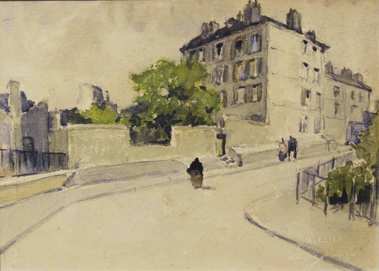 """""""Rue St. Eleuthere (Paris) """" watercolor cm. 18 x 13 the work Framed cm. 45 x 40"""