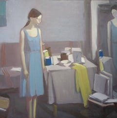 Inside with girl in blue  oil