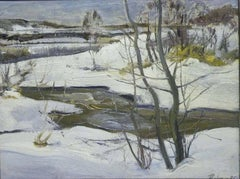 """Stream"" Snow, Forest, Winter, White Oil  cm. 46 x 35   1975"