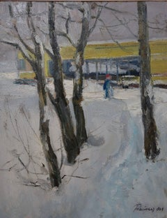 """""""Yellow house in the snow"""" Snow, Forest, Winter, White Oil cm. 39 x 50 1964"""