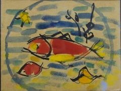 """Fish"" Watercolor   cm. 18 x 14  1937"