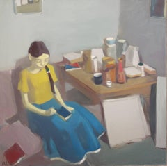 """Interior with figure and still life"""