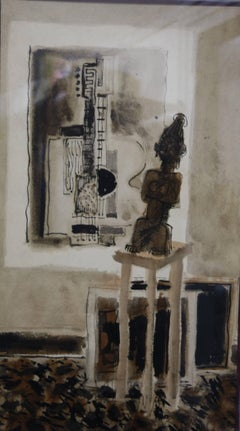 """Interior with sculpture""  cm. 25 x 44    1954"