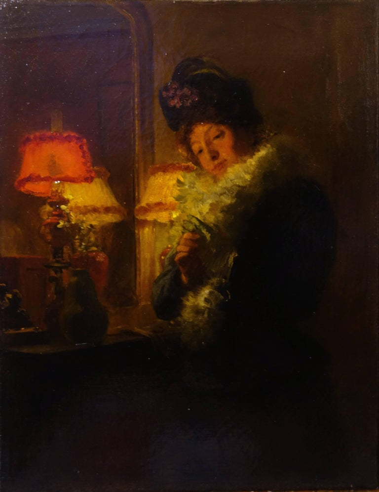 "Marcel Rieder Figurative Painting - "" Elegant woman ""  Oil cm. 28 x 35 1900"