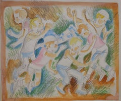 """Games in the yard"" Pastel  cm. 17 x 19  1970"