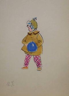 """ My blue ball"" watercolor  cm, 12 x 18"