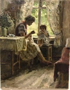 """""""The fairy tale"""" oil cm 40 x50 1955"""