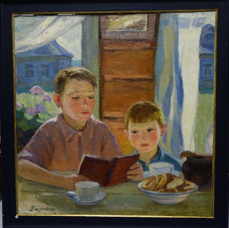 "Nadezhda VOROBIEVA Figurative Painting - ""Breakfast""    oil  cm. 70 x 68   1958"