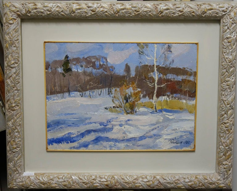 Cold morning   Oil  cm. 43 x 31 cm, 1982 - Painting by Leonid VAICHILIA