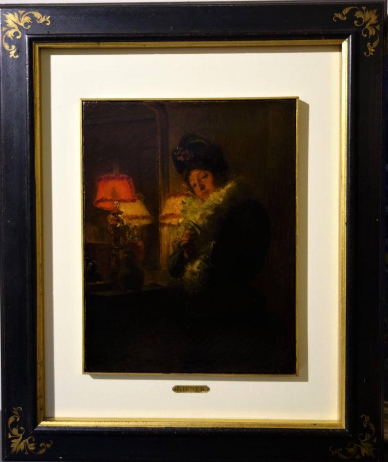 """ Elegant woman ""  Oil cm. 28 x 35 1900 - Painting by Marcel Rieder"
