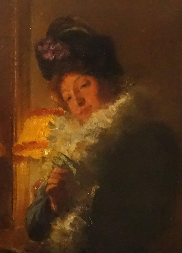 """ Elegant woman ""  Oil cm. 28 x 35 1900 - Impressionist Painting by Marcel Rieder"