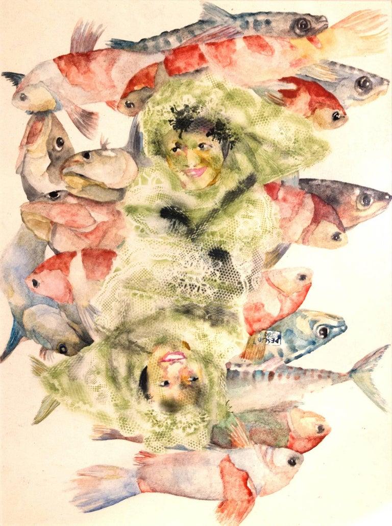 """Double for fishse""    watercolour  cm. 21 x 28,5    2017"
